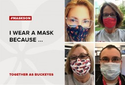 collage of four ehs staff members wearing their masks
