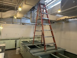 Photo of a ladder misuse
