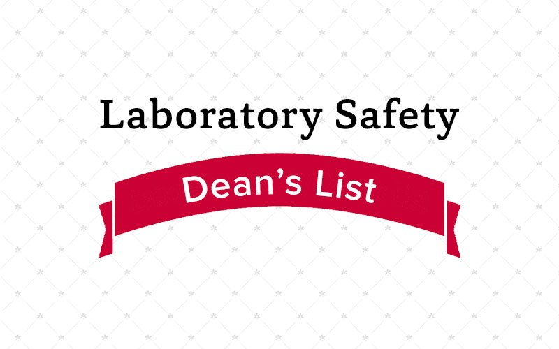 graphic with laboratory safety, dean's list