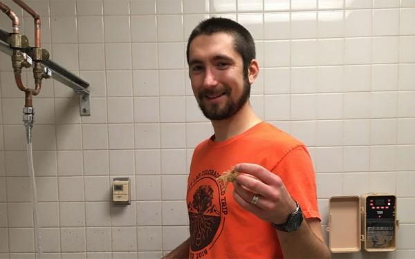 Scott Kelsey at a lab sink