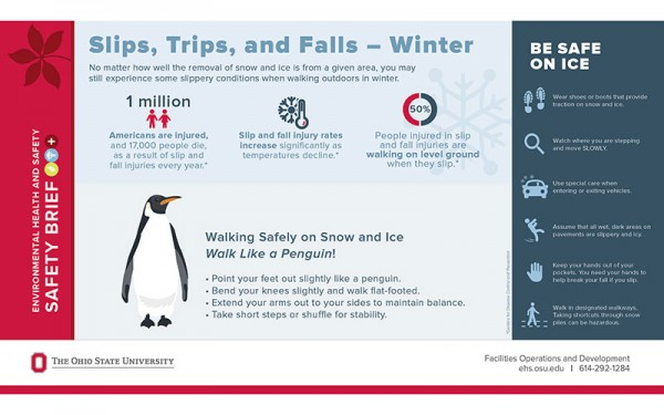 infographic about how to avoid slips, trips, and falls in winter