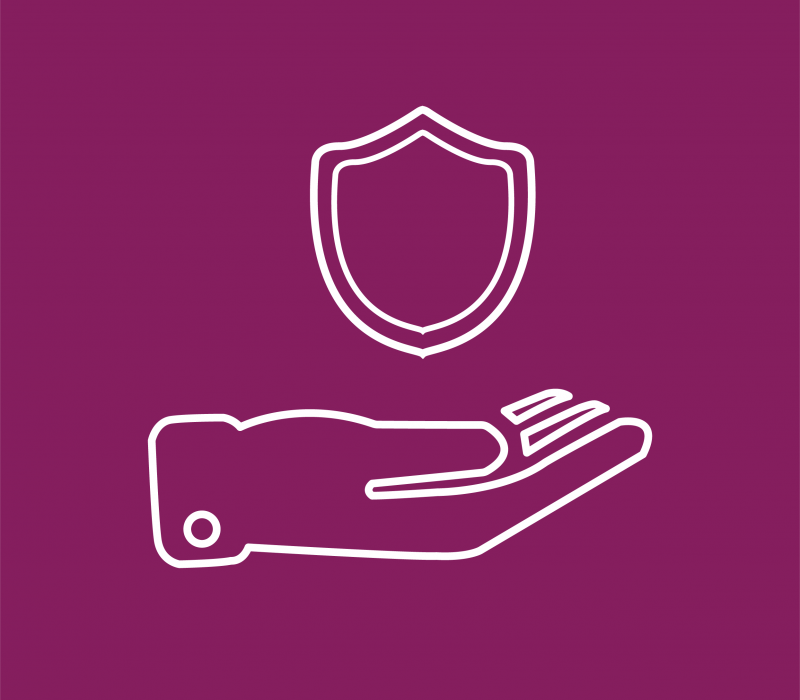 tile icon of a hand holding a safety shield
